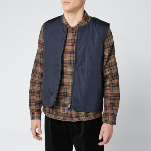 Folk Men's Wadded Gilet - Navy Crinkle