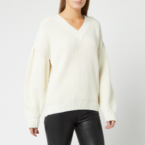 MSGM Women's V Neck Knit - White