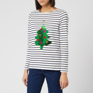 Joules Women's Harbour Luxe Xmas Tree Top - Blue Stripe