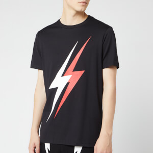 Neil Barrett Men's Double Bolt T-Shirt - Black/White/Red