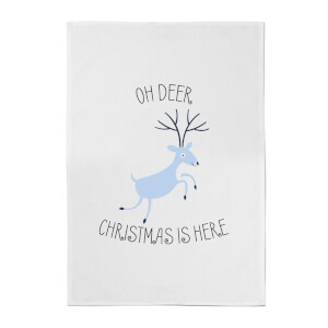 Oh Deer Christmas Is Here Cotton Tea Towel