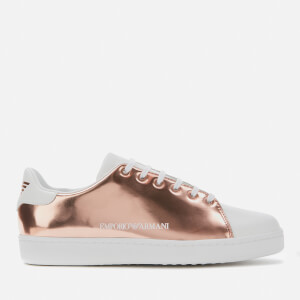 Emporio Armani Women's Serena Metallic Leather Low Top Trainers - Copper/White