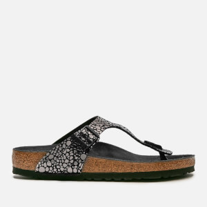 Birkenstock Women's Gizeh Toe-Post Leather Sandals - Metallic Stones Black