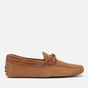 Tod's Men's Suede Lace Tie Gommini Driving Shoes - Cognac