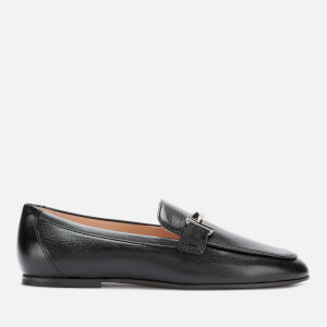Tod's Women's Leather T Logo Slip On Loafers - Black