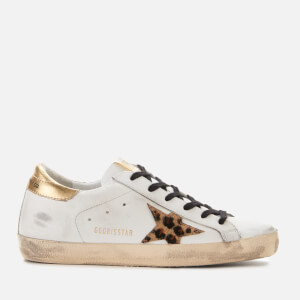 Golden Goose Deluxe Brand Women's Superstar Leather Trainers - White/Gold/Leopard Star