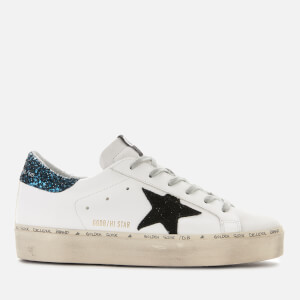 Golden Goose Deluxe Brand Women's Hi Star Leather Flatform Trainers - White/Blue Glitter/Black Star