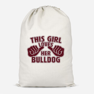This Girl Loves Her Bulldog Cotton Storage Bag