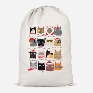 Christmas Cats Cotton Storage Bag