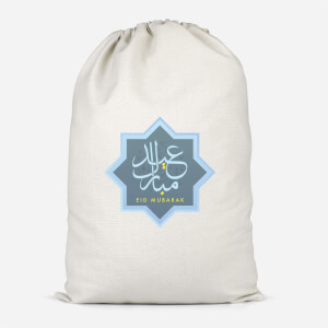 Eid Mubarak Blue Star Cotton Storage Bag