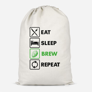 Eat Sleep Brew Repeat Cotton Storage Bag