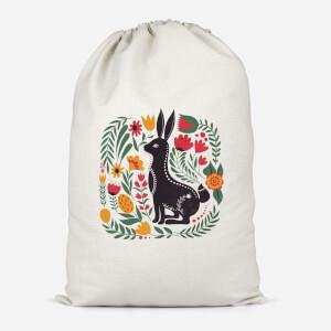 Scandi Rabbit Pattern Cotton Storage Bag