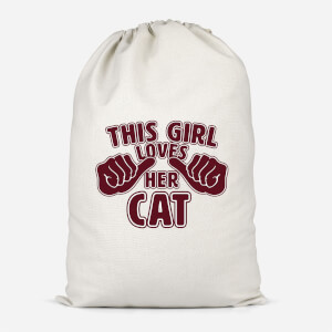 This Girl Loves Her Cat Cotton Storage Bag