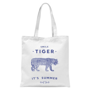 Smile Tiger Tote Bag - White