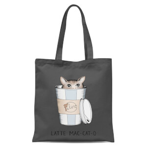 Latte Mac-Cat-O Tote Bag - Grey
