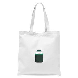 Christmas Snowman Pocket Tote Bag - White