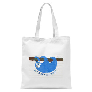 Eat Sleep Eat Repeat Tote Bag - White