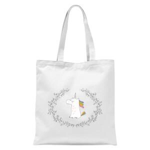 Unicorn Crest Tote Bag - White
