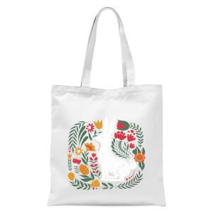 Scandi Rabbit Pattern Tote Bag - White