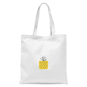 Pineapple Pocket Tote Bag - White