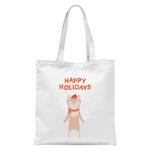 Happy Holidays Tote Bag - White