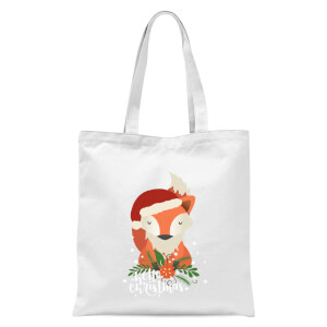 Christmas Fox Hello Christmas Tote Bag - White