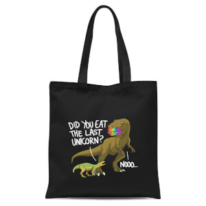 Dinosaur Unicorn Tote Bag - Black