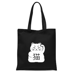 Lucky Cat Tote Bag - Black