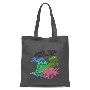 Save The Dinosaurs Tote Bag - Grey