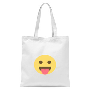 Tongue Out Face Tote Bag - White