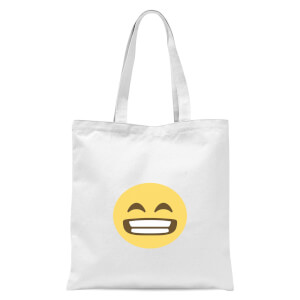 Wide Grin Face Tote Bag - White