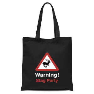 Warning Stag Party Tote Bag - Black