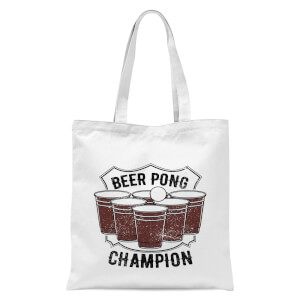 Beer Pong Champion Tote Bag - White