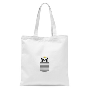 Stripey Panda Pocket Tote Bag - White