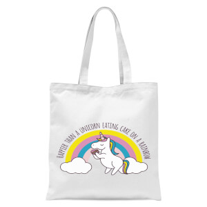 International Women's Day Happier Than A Unicorn Eating Cake Tote Bag - White