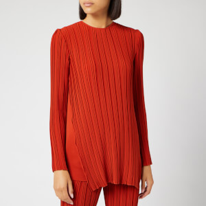 Victoria, Victoria Beckham Women's Long Sleeve Pleated Top - Brick
