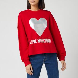 Love Moschino Women's Silver Heart Sweatshirt - Red