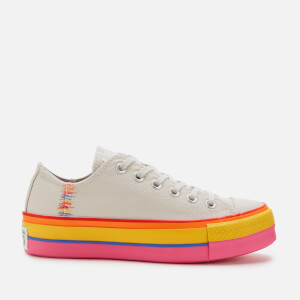 Converse Women's Chuck Taylor All Star Lift Rainbow Ox Trainers - Vintage White/Pale Putty