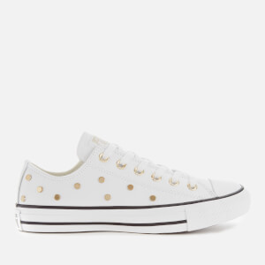 Converse Women's Chuck Taylor All Star Studded Ox Trainers - White/Light Gold/Black