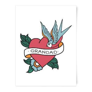 Grandad Heart Art Print