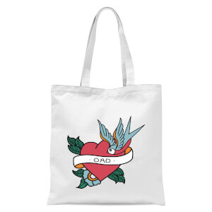 Dad Heart Tote Bag - White