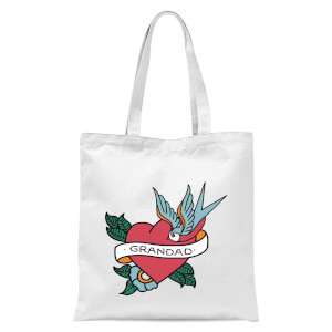 Grandad Heart Tote Bag - White