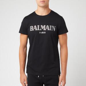 Balmain Men's Paris Silver Logo T-Shirt - Noir