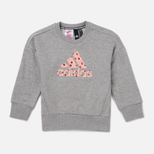 adidas Girls' Young Girls Crew Neck Sweatshirt - Grey