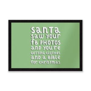 Santa Saw Your FB Photos Entrance Mat