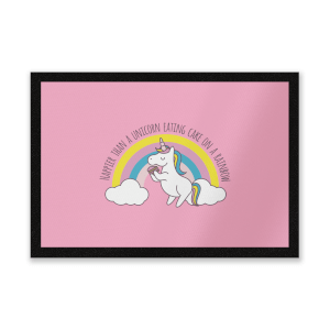 Happier Than A Unicorn Eating Cake Entrance Mat