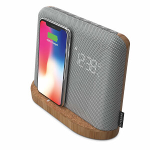 Kitsound Xdock Qi Charging Bluetooth Speaker Dock - Silver/Brown