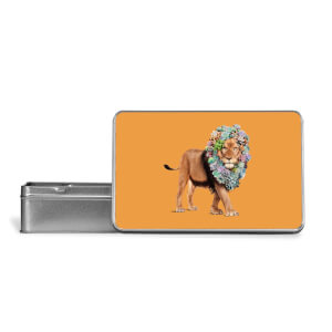 Floral Lion Metal Storage Tin