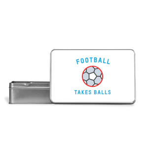 Football Takes Balls Metal Storage Tin