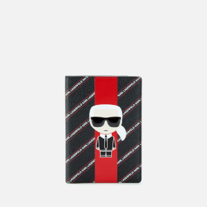 Karl Lagerfeld Women's K/Stripe Ikonik Passport Cover - Black